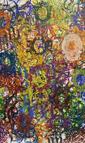Projection sur peinture #1 2013 Acrylique et encre sur toile 210 X 230 cm