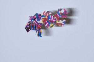Adoquin #3 2019 Collage Acrylique et encre sur papier adhésif tasseau de bois 19,5 x 10,5 x 4,5cm